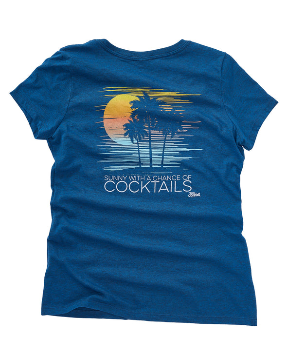 Sunny, Chance of Cocktails Ladies Vneck Tee