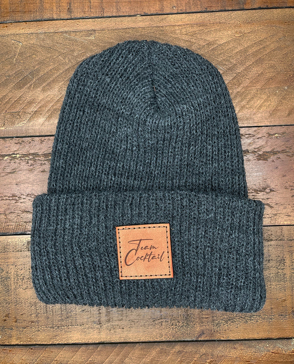 Leather Patch Stocking Cap
