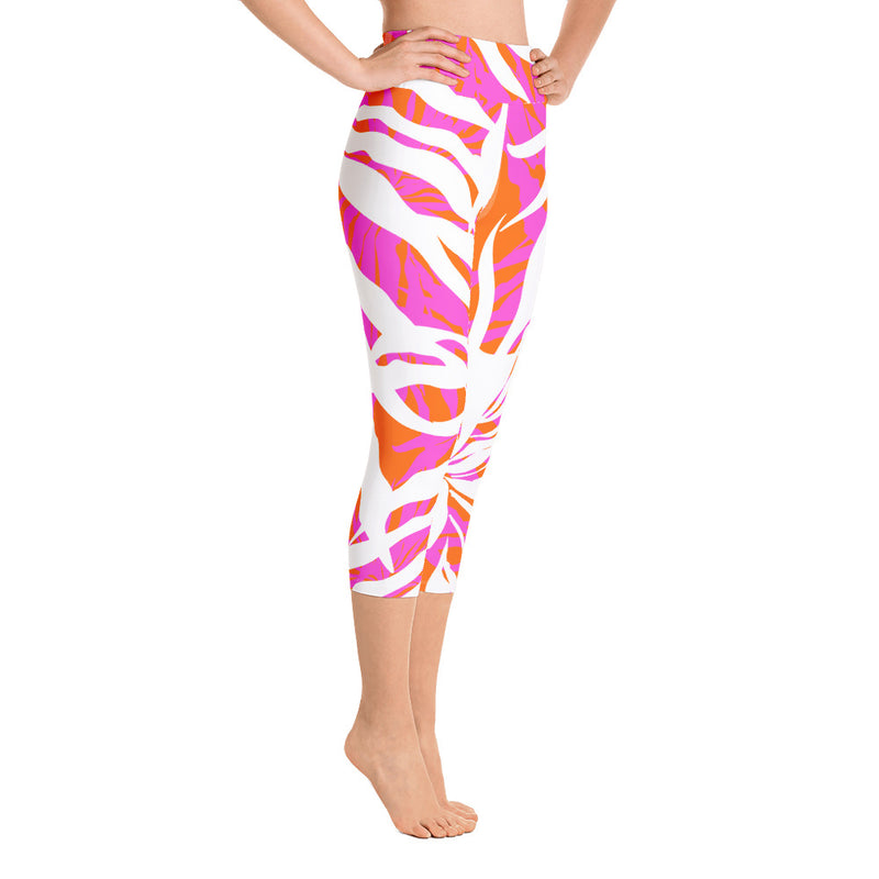Orange Fern Capri Leggings