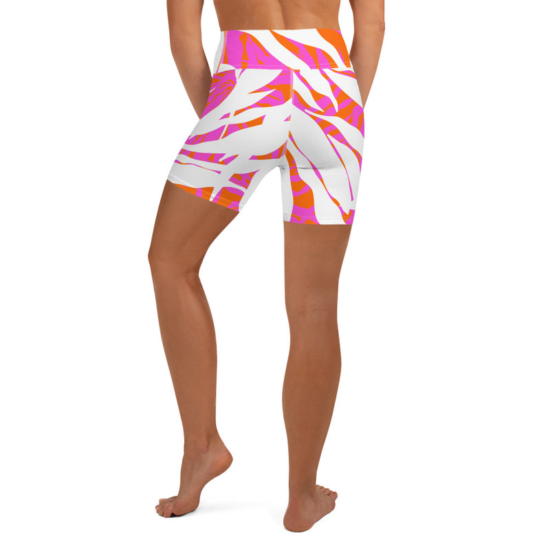 Orange Fern Yoga Shorts