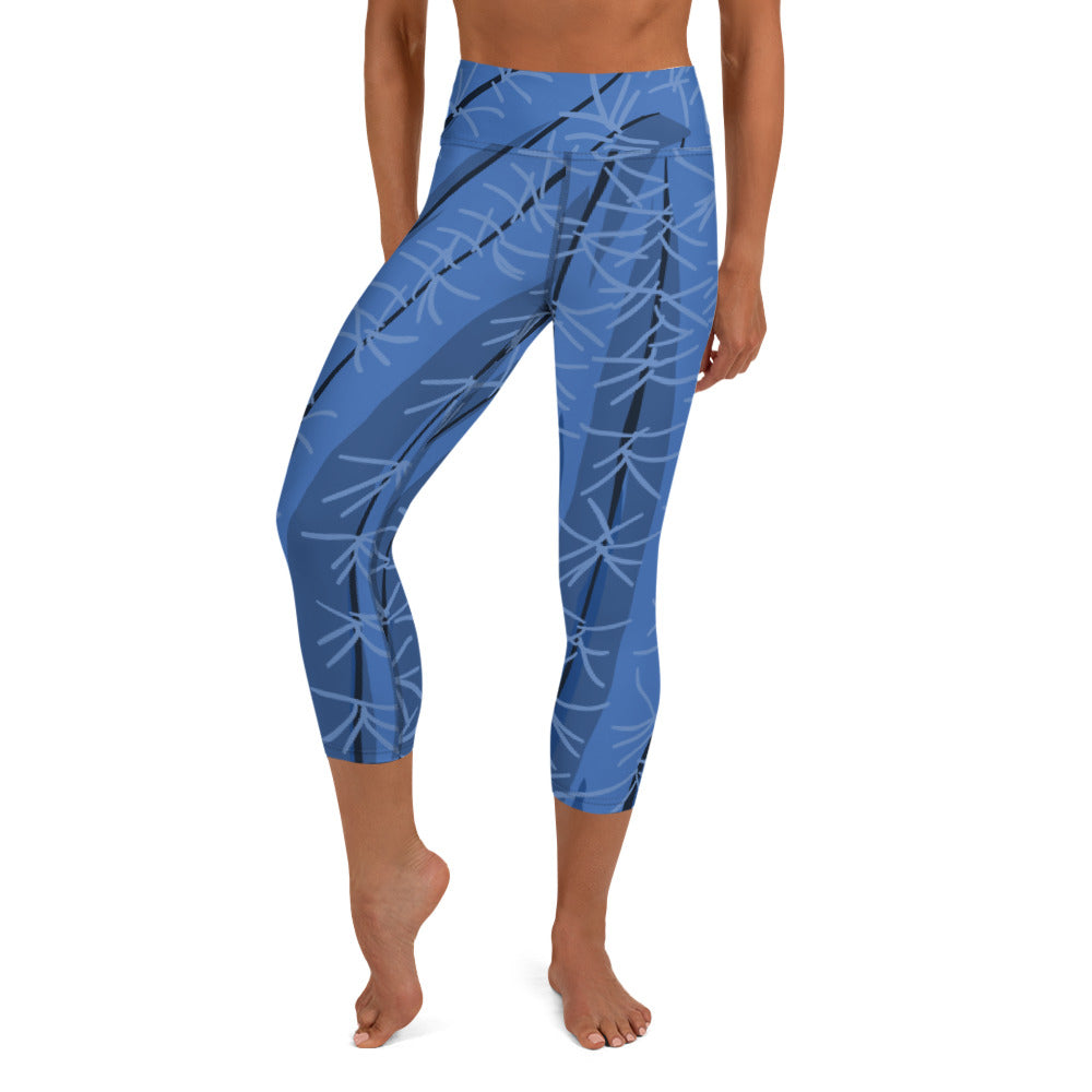 Blue Cactus Capri Leggings