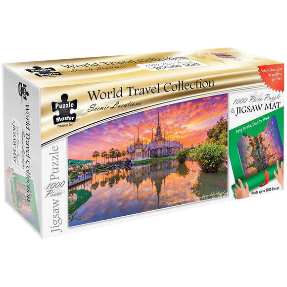 Puzzle Master Scenic Locations 1000 Piece Puzzle with Puzzle Mat - Temple at Wat None Kum Thailand
