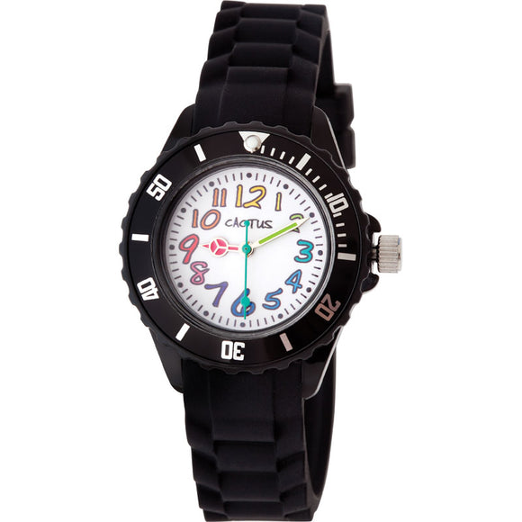 Cactus Rainbow Numbers/Rubber Band Watch Black
