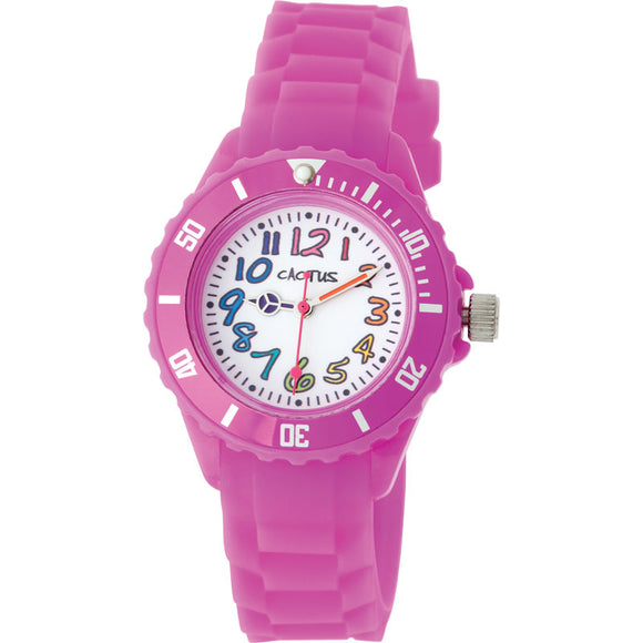 Cactus Rainbow Numbers/Rubber Band Watch Pink