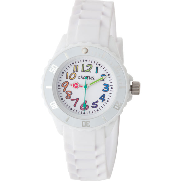 Cactus Rainbow Numbers/Rubber Band Watch White