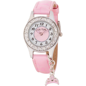 Cactus Diamante Watch With Tiara Charm - Pink
