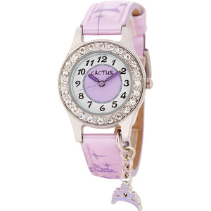 Cactus Diamante Watch With Tiara Charm - Purple