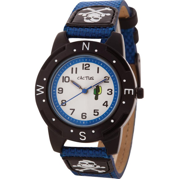 Cactus Blue Watch Skull & Crossbones Band Compass Points on Top Ring