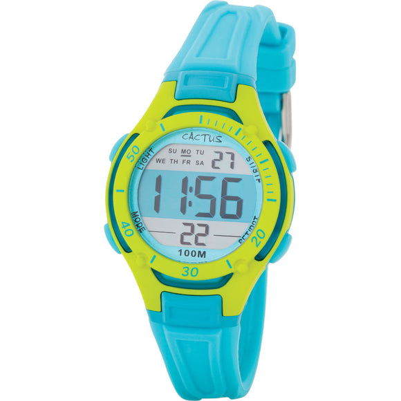 Cactus Wave Tech 100m Water Resistant Multifunction LCD Watch - Turquoise