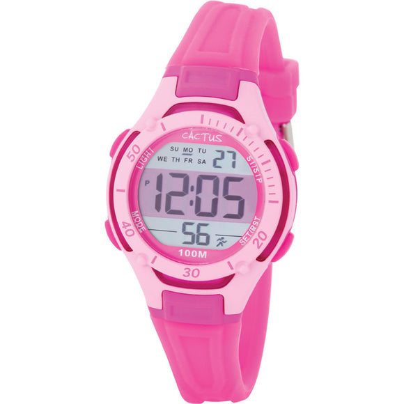Cactus Wave Tech 100m Water Resistant Multifunction LCD Watch - Pink