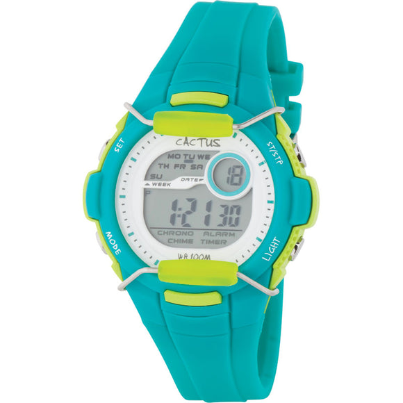 Cactus 100m Water Resistant LCD Watch - Aqua/Lime