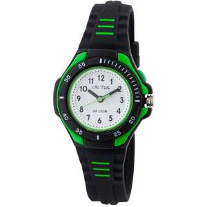 Cactus Bliss Waterproof Watch with Light - Black/Green