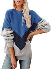 Load image into Gallery viewer, Batwing Chevron Color Block Sweater - Modern Hippi