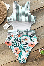 Load image into Gallery viewer, Women's Lilies Print Tank Top One-Piece Swimsuit