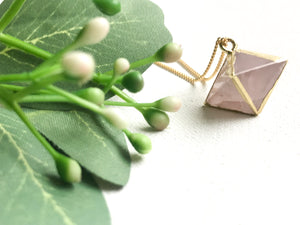 Rose Quartz Diamond Pendant - Modern Hippi