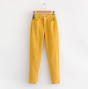 Vintage Macaron color Corduroy Pants Autumn Woman Mid Waist Ankle Length Loose Harem Pants Trousers Femme Casual Long Pants - Modern Hippi
