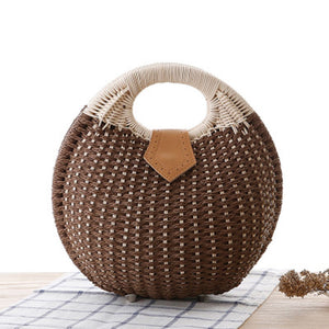 Women Straw Bag Snail's Nest Female Beach Tote - Modern Hippi