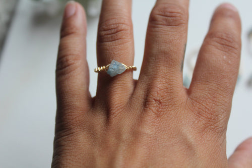 raw aquamarine ring. wire wrapped aquamarine ring, march birthstone, gift for her, something blue, stacking ring - Modern Hippi