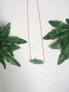 Green Aventurine Necklace - 14k Gold filled - Aventurine Quartz Necklace - Dainty Necklace - Green Stone - Modern Hippi