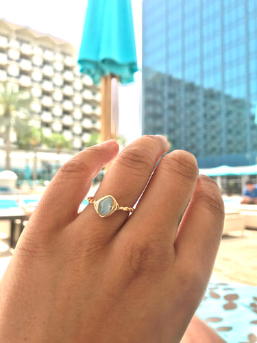 rough cut aquamarine ring. wire wrapped aquamarine ring, march birthstone, gift for her, something blue, stacking ring - Modern Hippi