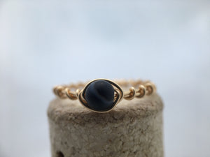 black agate rings,  wire wrapped black ring,  gift for her,  stacking ring, healing crystal ring - Modern Hippi