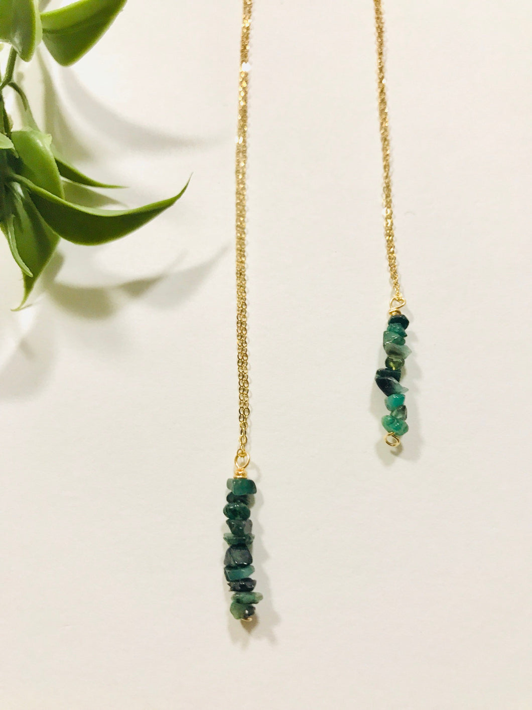 Emerald necklace,  gift for her, handmade jewelry, gemstone jewelry, may birthstone, raw emerald - Modern Hippi