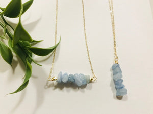Aquamarine necklace,  gift for her, handmade jewelry, gemstone jewelry, march birthstone - Modern Hippi