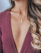 Load image into Gallery viewer, Rustic Moonstone Vertical Bar Necklace - Modern Hippi