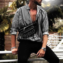 Load image into Gallery viewer, Casual Long Sleeve Shirt Men Ethnic Style Print