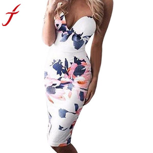 NEW Fashion Women's Dress Printing Floral Sleeveless Spaghetti Strap Midi Bodycon Club sexy Pencil Dress #LSW - Modern Hippi