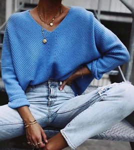 Casual Pullovers Sweaters Women Hollow out Loose V-neck