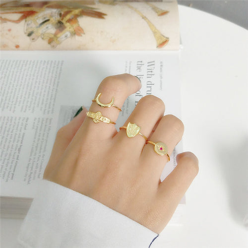 Crescent Moon Vermeil Gold Ring