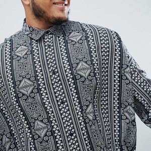 Casual Long Sleeve Shirt Men Ethnic Style Print