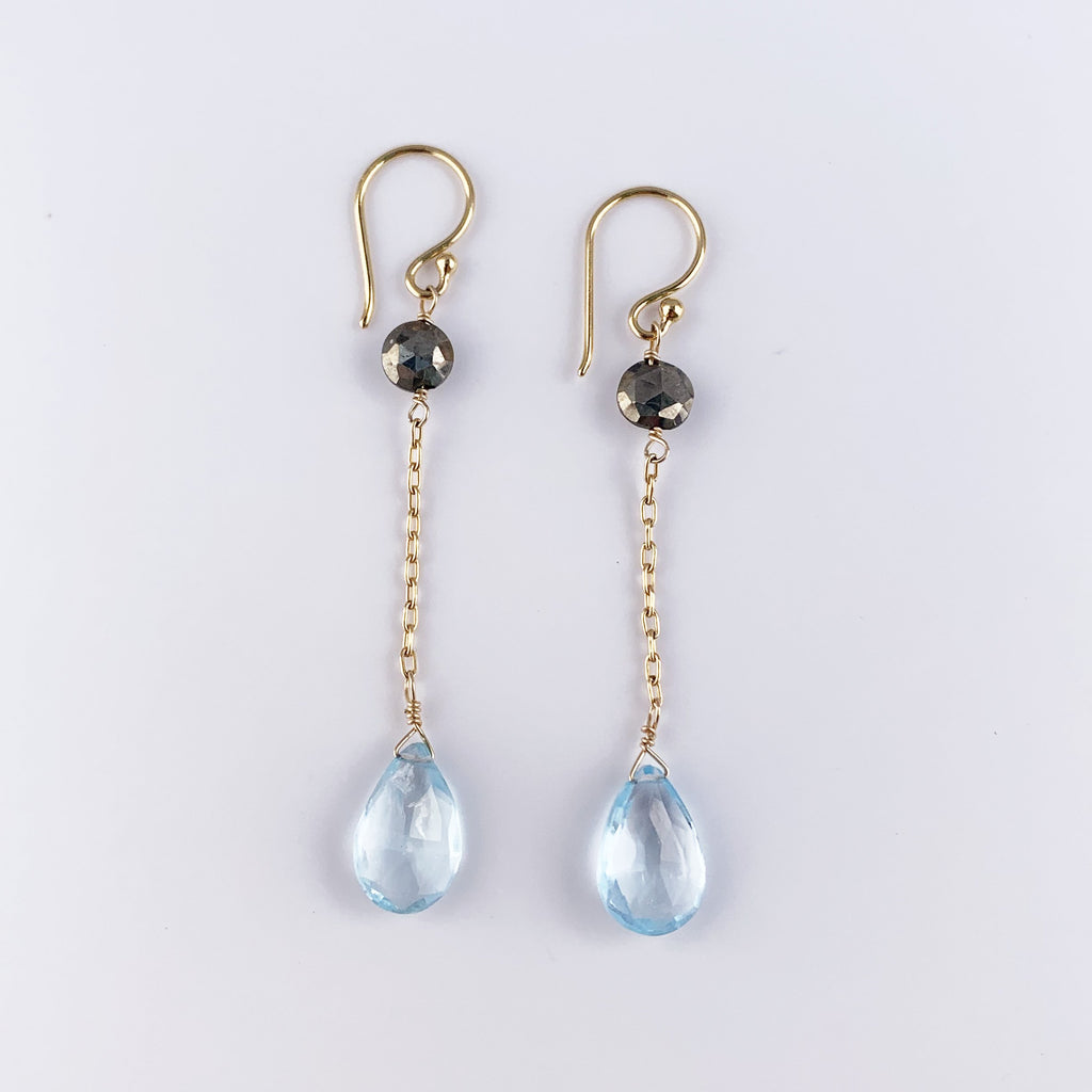 Aquamarine Simple Earrings