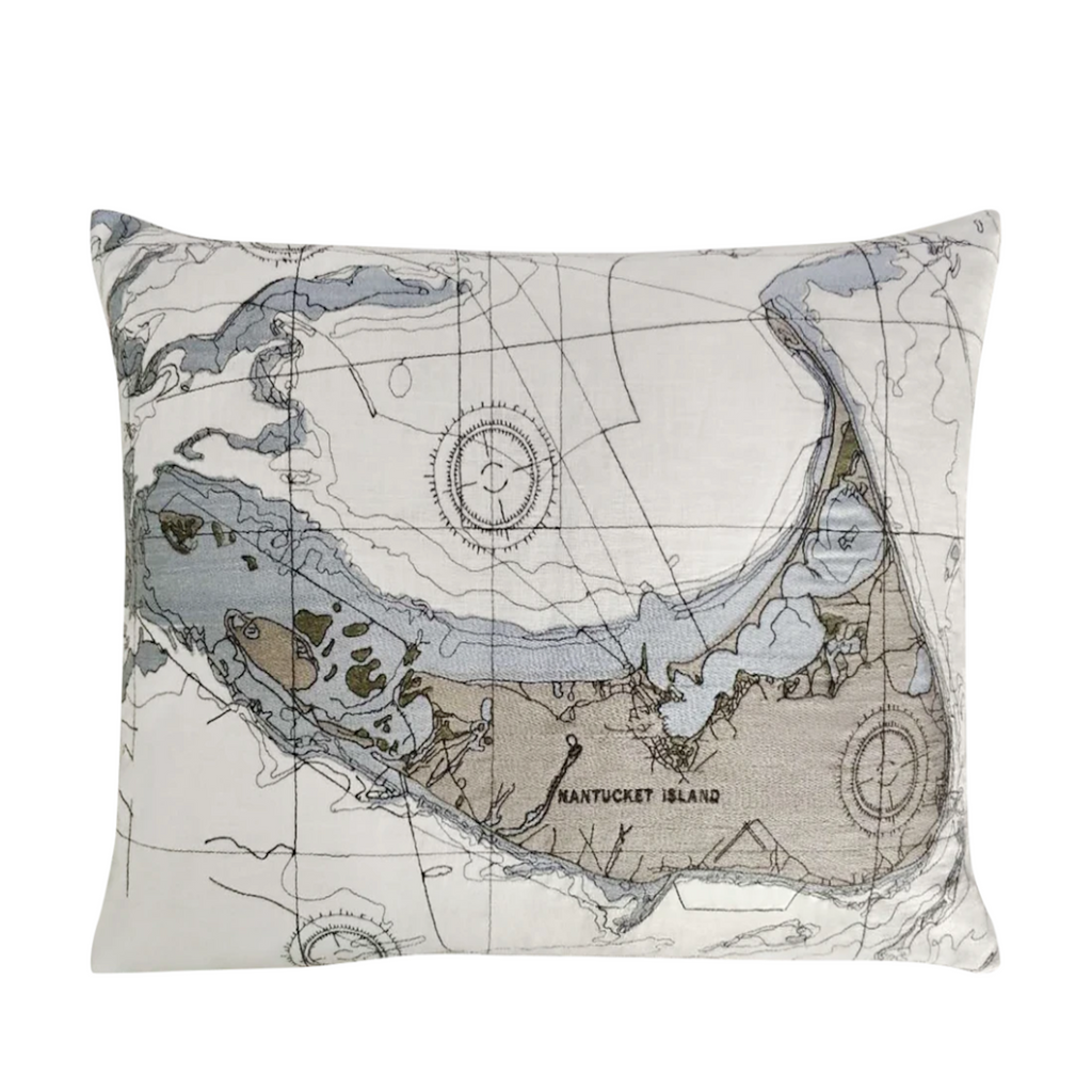 Nantucket Nautical Map Pillow Cover