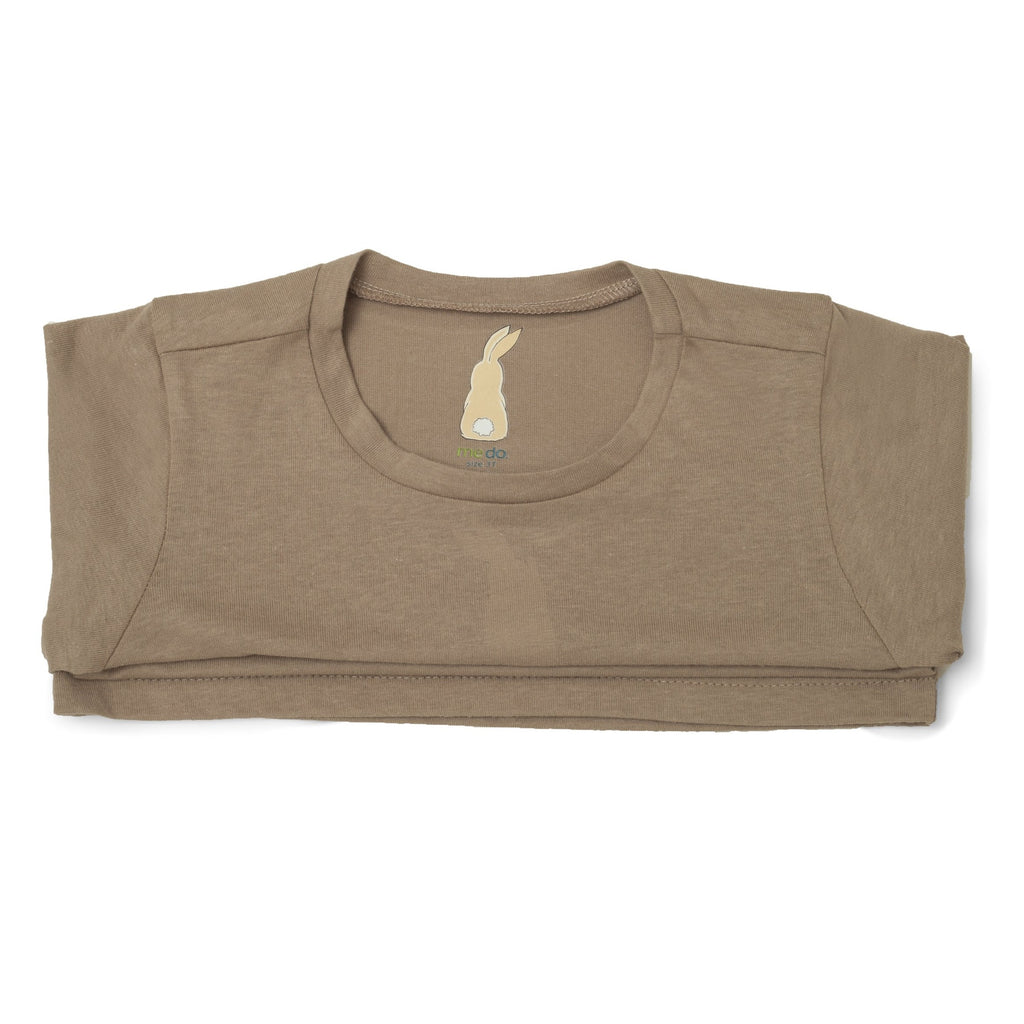 Me Do. Learn-to-Dress Tan Tee Shirt Interior Back