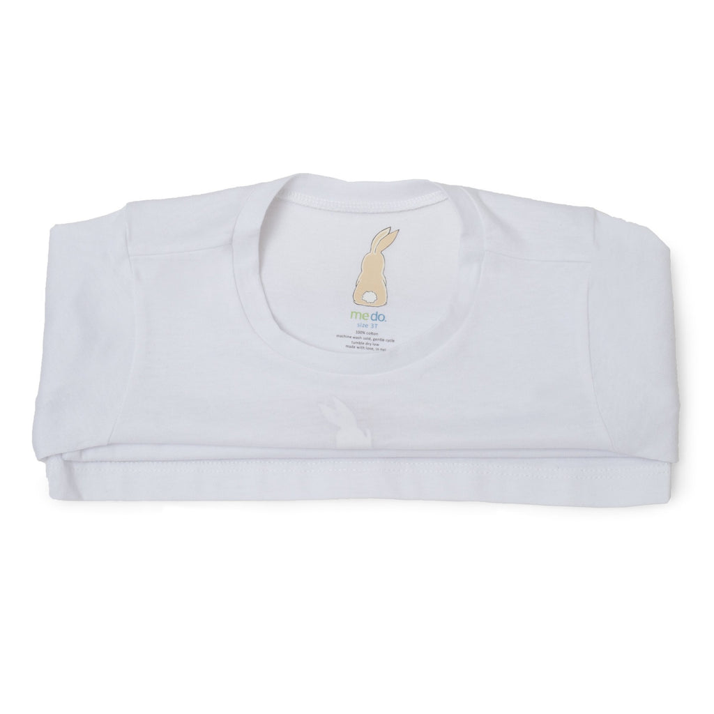 Me Do. Learn-to-Dress White Tee Shirt Interior Back