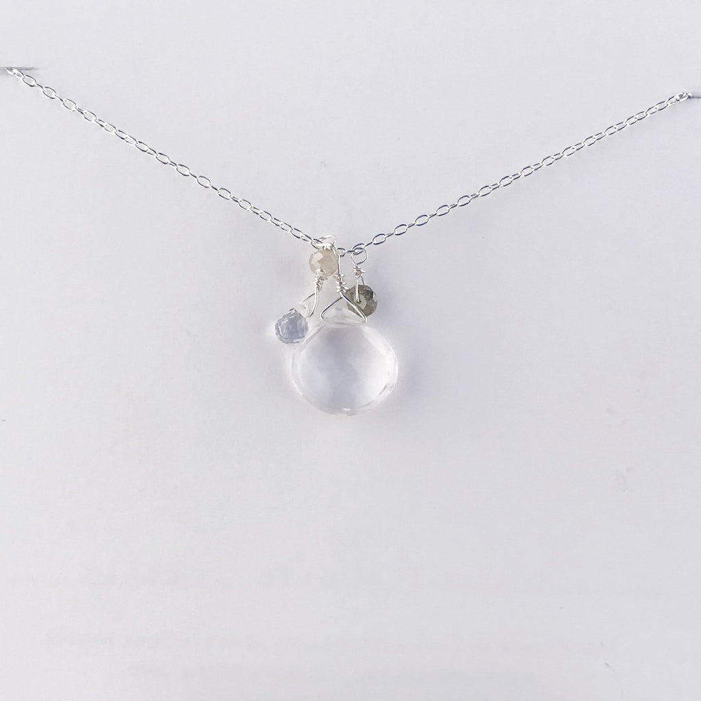 April Silver Birthstone Necklace