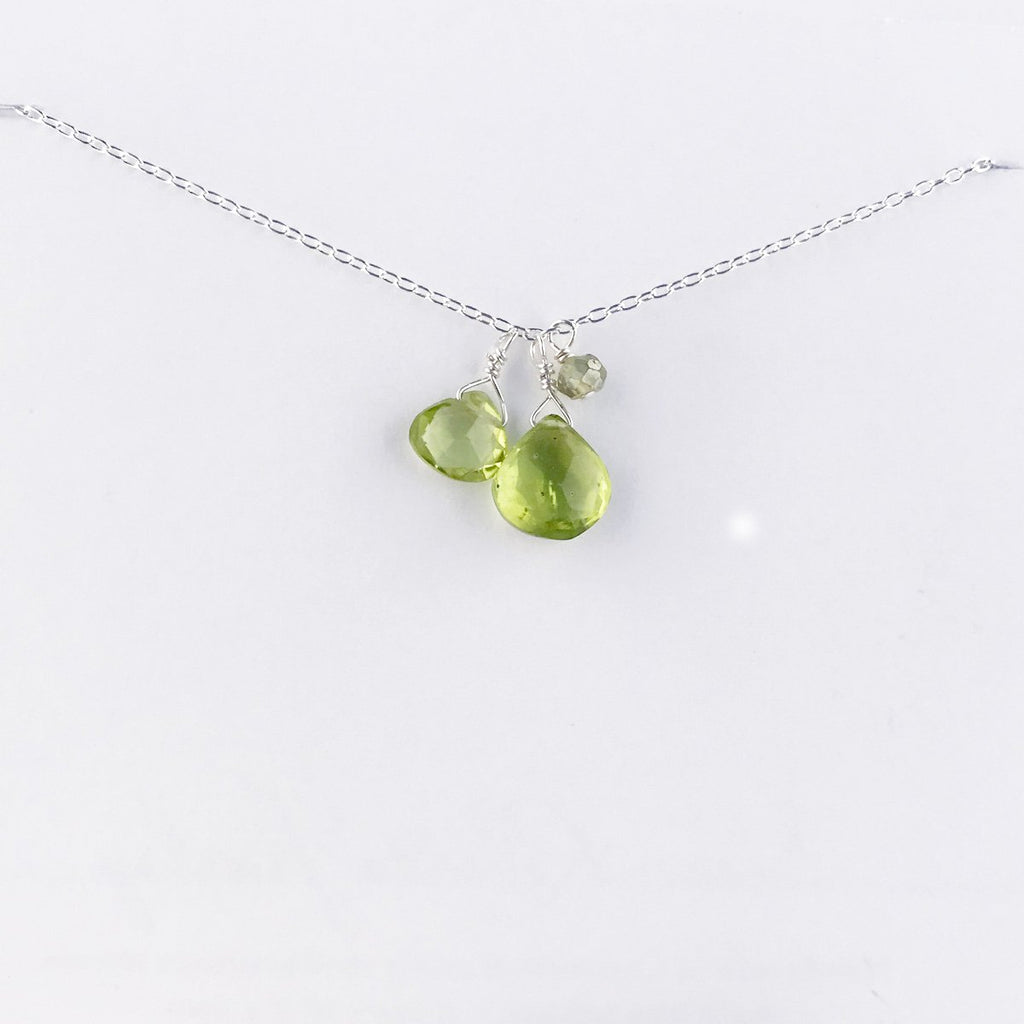August Silver Birthstone Necklace