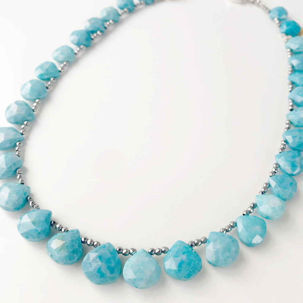 Blue Opal Ruffle Necklace