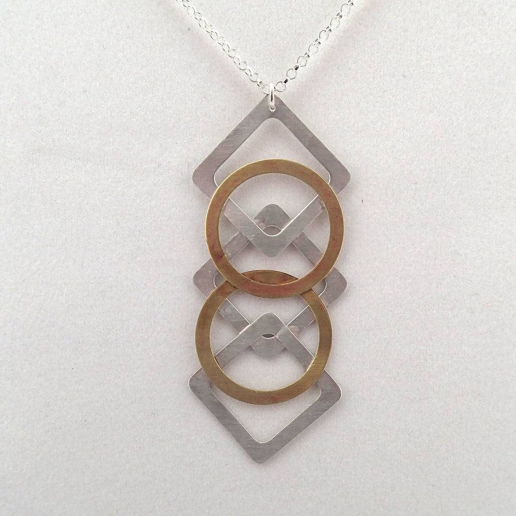 Argyle Pendant Necklace in Silver and Brass