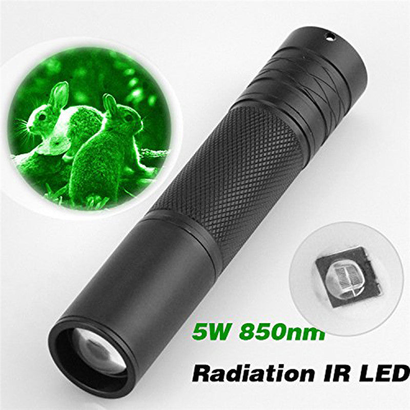 2018 New 5W 850nm LED Infrared IR Flashlight Torch Zoomable for Night Vision Scope
