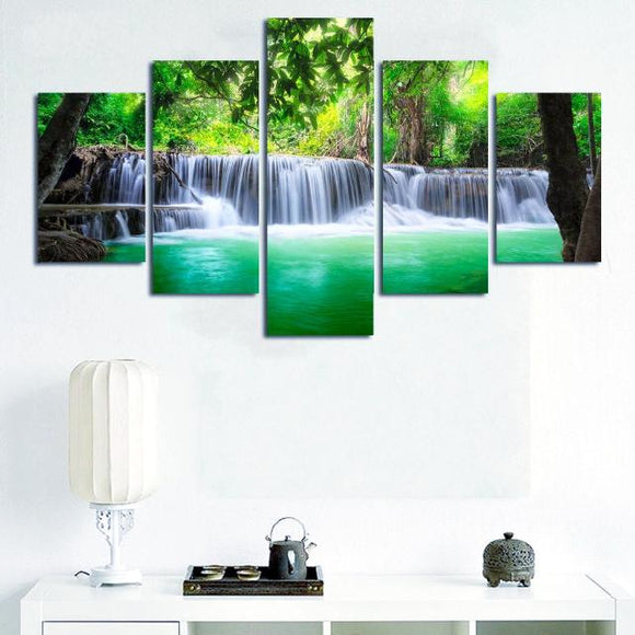 5 Pieces Waterfall Painting Canvas Paint (3 Sizes Available)