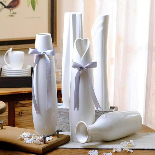 Modern Stylish Geometric Flower Plant Ceramic Vase (White) - HomDecors