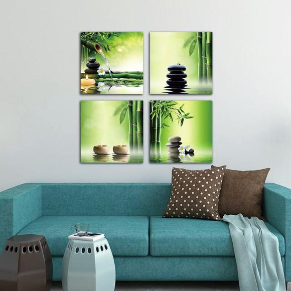 Modern 4 Pieces of Zen Giclee Canvas Paint (5 Sizes Available)