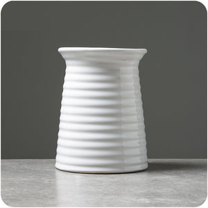 White Ceramic Fashionable Flower Vase (4 Types Available) - HomDecors