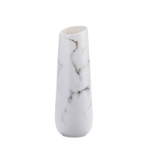 Marble Patterned Modern Flower Plant Ceramic Vase (White) - HomDecors