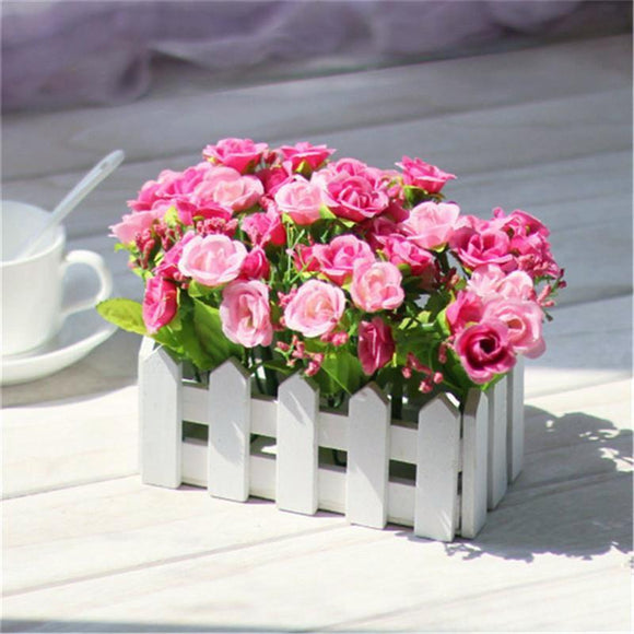 Wooden Fence Vase with Rose\Daisy Silk Artificial Flowers (15 Colors) - HomDecors