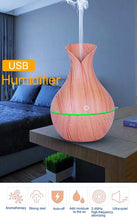 Portable Mini USB Wood (130ml) Air Aroma Humidifier Auto Shut-off with 7 Colors LED Light - HomDecors