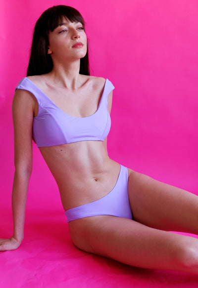 Women's purple bikini  sustainable swimwear by The Nudist